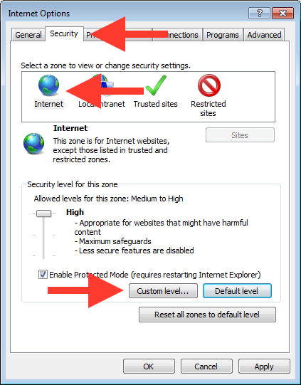 Internet Options Dialog