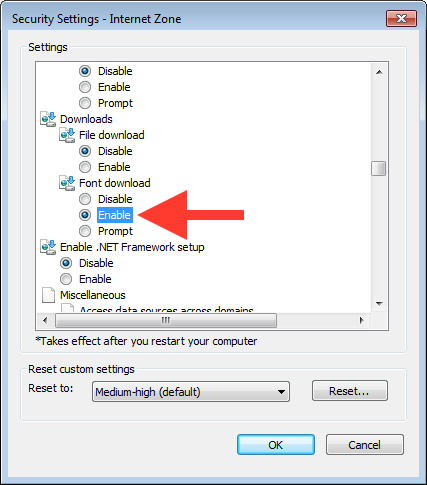 Custom Security Settings Dialog